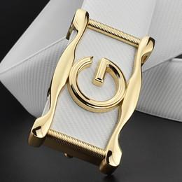 g ceinture blanche Promotion Ceintures pour hommes véritables créateurs en cuir de haute qualité mode luxe ceinture blanche hommes classique noir G boucle mâle peau de vache sangle