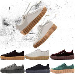 6fa1ae92 Rihanna Fenty Creeper Классическая корзина для платформы Повседневная обувь  Velvet Cracked Leather Suede Mens Fashion Designer Запуск кроссовки дешево  ...