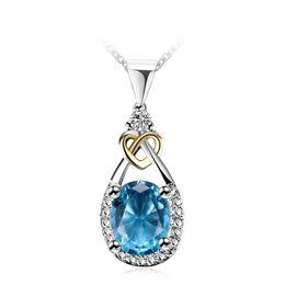 Izuan Colliers Pendentifs Femmes Pour Le Mariage 925 Sterling-silver-jewelry Bleu Ovale Pierre Parti Colliers Fine Jewelry N101 S18101105 ? partir de fabricateur