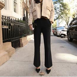pantalones negros de talla grande Rebajas 2017 primavera nueva moda de trabajo de maternidad pantalones de las mujeres embarazadas arranque negro corte pantalones formales de la oficina de las señoras más el tamaño del vientre pantalones