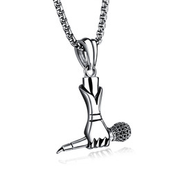 "Wholesale Microphone Pendant Necklace - Hiphop Necklace Men Rapper DJ Night Club Microphone Pendants Necklaces Silver with 24"" Long Chain"