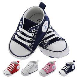 4 colori New Canvas baby Scarpe sportive Neonati Ragazzi Ragazze Primi camminatori Bambino piccolo Bottom Soft Antiscivolo Prewalker Sneakers 0-18M da