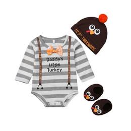 vestiti lunghi di calzini Sconti 3Pcs Ringraziamento Newborn Baby Boy manica lunga pagliaccetto + cappello + calzini vestiti Outfit Set