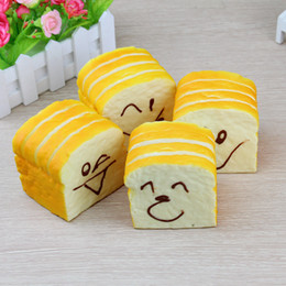 Wholesale Home Bread - Jumbo Squishy Sliced Toast Toy Mobile Phone Bread Strap Soft Bread Scented Funning Hand Pillow Gift Home Kitchen Decor IB652