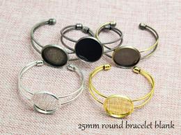 Wholesale Wholesale Brass Cuffs - 25mm Round Cuff Bracelet Blank, Bangle Bracelet Base Cabochon, Bezel Bracelet Settings, fit 25mm glass Cabochon, 10pcs lot