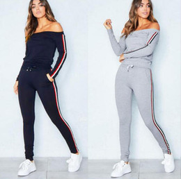 Wholesale stitched ribbons - Female Sports Suit 2018 New Autumn Winter Stitching Red And White Ribbon Bra Woman Jogging Fitness Fashion Sexy Slash Neck Outdoors Athletic