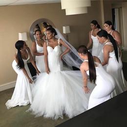 queda de cintura vestido de noiva vestido Desconto Whie Sexy Meamaid Tule Vintage Boho Vestido De Noiva Para Meninas 2018 Vestidos de Casamento Querida Cintura Cair