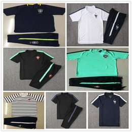 Wholesale france football kits - 2018 World Cup National France England Portugal Brazil Short Sleeve Training Suit White Black Custom Soccer Football Shirt Kit Tracksuit