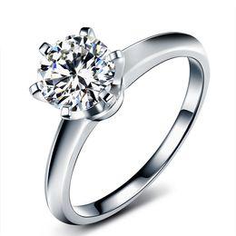 Canada Or, 9k, 14k, 18k - Essai de bague de diamant certifiée Moissanite: Classique positif de conception de couronne à 6 griffes, couleur VVS - Clarity 3EX - Coupe à jamais brillante Offre
