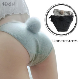 Wholesale Panties Rabbit - Women Sexy Side Tie Close Panties Cute Rabbit Tail Cotton Briefs Female Underwear Seamless Lingerie Underwear Plus Size