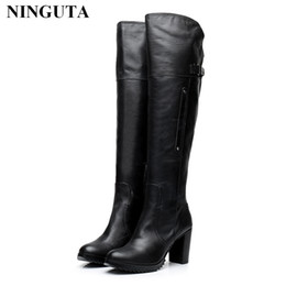 Wholesale thigh for men - High quality genuine leather thigh high boots women for spring autumn ladies shoes designer boots