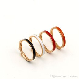 Wholesale White Gold Enamel Rings - 0.3cm width Hot sale 316L Titanium Steel Fashion Ring with enamel four colors women and man original brand H ring Jewelry PS5403