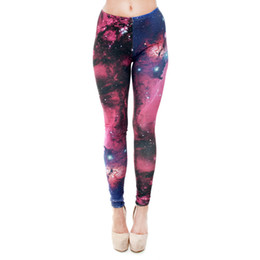 Wholesale Girls Galaxy Pants - Women Leggings Multi-Color Galaxy 3D Graphic Print Girl Skinny Stretchy Yoga Wear Pants Gym Fitness Pencil Fit Lady Capris Trousers (J31174)