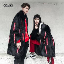 Wholesale Leather Hip Hop Winter Jackets - Men Long Design Faux Fur Leather Coats High Street Fashion Hip Hop Autumn Winter Male Women Fake Fur Jacket Overcoat
