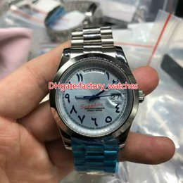 Wholesale Number Hands - Arabic numbers mens wristwatch 41mm light blue dial stainless steel case week date full works automatic sweep hands president bracelet watch