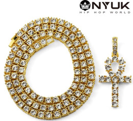 Canada Mens Bling Iced Out égyptien Ankh clé pendentif collier plaqué or Hip Hop strass cristal cubain lien chaîne hommes bijoux colliersPendan cheap egyptian jewelry Offre