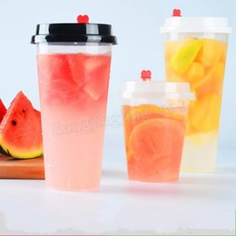 Wholesale Disposable Plastic Tea Cups - 700ml 24oz Disposable Plastic Cups Thicken Injection Heat Resisting Milk Tea Cup Transparent Hot Drinks Juice Coffee Mug With Lid MMA161