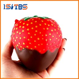 Wholesale strawberry candy - 11.5CM PU Jumbo Soft Squishy Strawberry Candy Scented Slow Rising Fruit Strawberry Squeeze Toys Gifts Antistress Toys For Kids