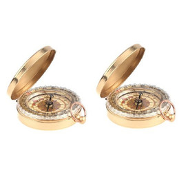 Wholesale antique pocket watch sale - 5Set Sale 2 X classic pocket watch style antique camp compass pocket compass fishing, camping, hiking, hunting, brass color
