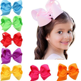 Wholesale Big Clips - 16 colors baby girl cany color big bow barrettes Design Hair bowknot Children Headwear Kids Hairpin Girls Hair Clips Baby Hair Accessory