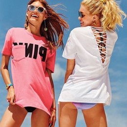 Wholesale Loose T Shirts - Love Pink Women Pullover T-shirt Back drawstring Loose Sexy Tops Pullover Solid Tees Short Sleeve Pink Letter T-Shirt FFA199 12PCS