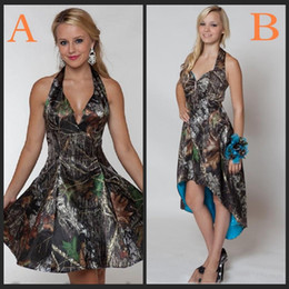 Wholesale Camo Halter - Maid Of Honor Dresses 2018 Short Camo A Line Bridesmaid Dresses Sea Beach Prom Gowns Halter Knee Length Backless Party Dress