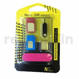 Nouveau 5 en 1 métal Nano Carte SIM / Carte Micro SIM / Adaptateur adaptateur convertisseur standard pour iPhone 6/5 / 4S / 4 cellules avec broche d'éjection avec la vente au détail ? partir de fabricateur