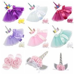 Wholesale Baby Barefoot Sandals Headband - baby Outfit Tutu Skirt dress with unicorn Headband flower Barefoot Sandals Set Photography Props 100 days Birthday Party Costume KKA4996