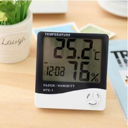 Wholesale digital room temperature clock - Digital Weather Station Indoor Digital C F Thermometer Hygrometer Clock Office LCD Temperature Humidity Meter Monitor HTC-1 CCA9257 50pcs