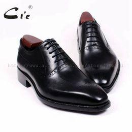 zapatos personalizados hombres oxford Rebajas Cie Recortes de punta cuadrada Oxfords Cordones Sólido Negro 100% Cuero de becerro genuino Transpirable Bespoke Men Shoes Handmade Custom OX380