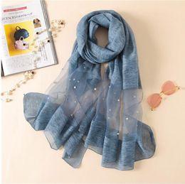 scialle di colore perla Sconti Europa moda nuova sciarpa perline perline di lana di seta di colore solido sciarpe estate aria condizionata scialle avvolgere