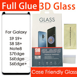Wholesale Mirror Packaging - For Samsung Galaxy S9 S9Plus S8 Plus Note8 S7edge 3D Full Glue adhensive Case Friendly Tempered Glass Phone Screen Protector retail package