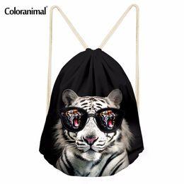 Uomini di stringa animale online-Coloranimal Cool Animal Tiger Stampa Coulisse Bag Man Boy Mini Light Zaino Bolsa Travel Beach String Storage Bags