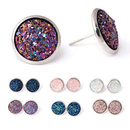 pendientes de racimo para las mujeres Rebajas Moda Crystal Cluster Stud Earrings Simple Ronda de aleación de plata plateó el oído Stud Mujeres Cute Colorful lentejuela oreja de joyería accesorios al por mayor