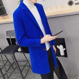 2018 marca fashion Tinta unita di alta qualità Manica lunga Uomo Il panno di lana Cappotto Giacca a vento da uomo da merci del cortile fornitori