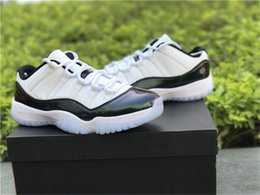 Wholesale Air Carbon - 2018 New Real carbon fiber Air Retro 11 11 XI Concord Emerald Easter White Emerald Rise Black Men Sneakers Sports Basketball Shoes With Box