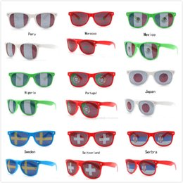 Wholesale flag frame - High Quality 36 Style Nightclub Bar Party Fans Sunglasses For National Flag 2018 World Cup Football Fans Sunglasses