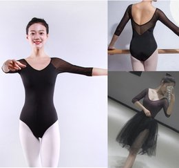 Wholesale spandex mesh dress - Ballet Leotards For Women New Long Sleeve Comfortable Practice Dance Costume Dark Purple Gymnastics Leotard Ballet Dress
