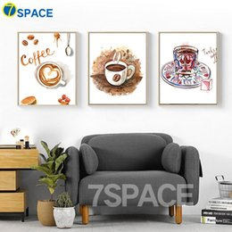 Wholesale Vintage Picture Frames Wholesale - 7-Space Watercolor Coffee Cup Canvas Painting Wall Pictures For Kids Room Vintage Wall Art Canvas Print Poster Decor No Frame