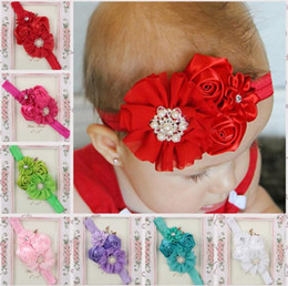 Wholesale Vintage Hair Accessories Children Wholesale - Rose chiffon Flower headband Floral Hairband Hairbows vintage inspired headband hair accessories for Children Girls 11 colors