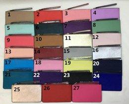 Wholesale wallet wristlet - Brand New leather wallets wristlet women purses clutch bags zipper wristlets 27 colors