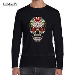 Men/'s Dia de Muertos Sugar Skull La Catrina Rose Raglan Baseball T Shirt Tee