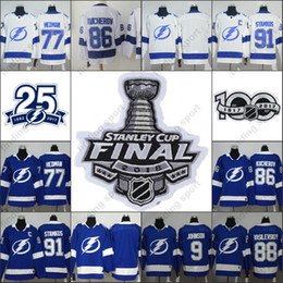 Wholesale victor hedman - 2018 new Stanley Cup final 25th 100th patch Tampa Bay Lightning Steven Stamkos Nikita Kucherov Victor Hedman Tyler Johnson Hockey Jerseys