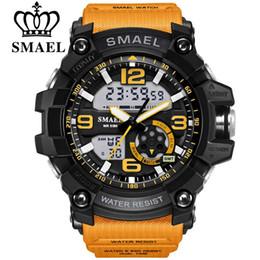 Wholesale cool military - SMAEL Digital Watch Men Sport Super Cool Men's Quartz Sports Watches Luxury Brand LED Military Wristwatch Male Xfcs FW-142