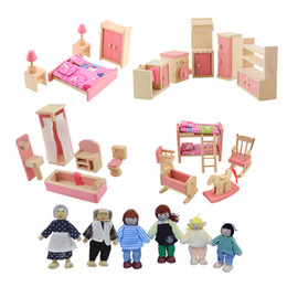 Wholesale Puppet Plays - 4pcs Baby Wooden Doll Family Furniture Toy For Children Play Parents Puppet Toys Set Holiday Girl Gifts