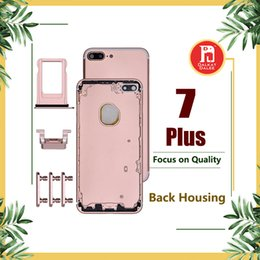 Wholesale Button Frames - Back Housing Battery Cover Coque for iPhone 7 Plus with LOGO & Buttons & Sim Tray +Custom IMEI Fundas Chassis Rear Door Middle Frame