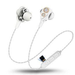 4 Altoparlanti Auricolari Bluetooth senza fili Auricolare sportivo Dual Dynamic Driver Headphones HIFI Monitor Stereo Bass Auricolari Mic Music Microphone da