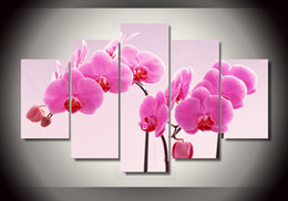 fotos de flores de orquidea Rebajas Venta caliente Nuevo Irregular Moderno 5 Unidades / set Pink Orchid Flowers Pictures Para la Decoración Del Hogar Hermosa Pared Sin Marco pintura