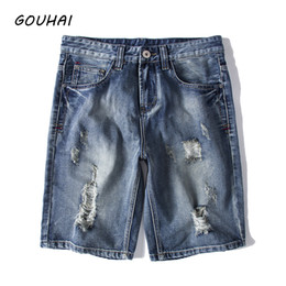 Wholesale Destroyed Jeans Shorts - Fashion Men Short Jeans Destroyed Ripped Design Denim Shorts Men Summer Causal Solid Shorts Plus Size S-6XL Top Quality