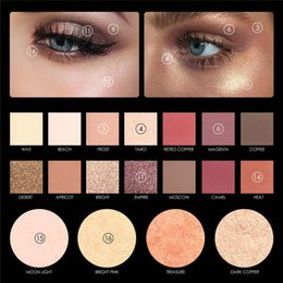 Wholesale Blue Bushes - Wholesale-FOCALLURE New Highly Pigmented Glitter Eye Shadow Flash Shimmer with Bush Highlighter Palette Face Makeup Tools